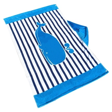 Kinder mit Kapuze Strandtuch Decke Baumwolle Super saugfähigen Cute Catoon Bad Schwimmen Pool Handtuch Cape Mantel Boy Girl Blue Streifen Wal