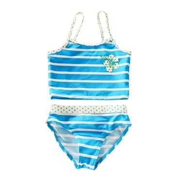 Summer Children Stripe Bikini Girls Split Two-piece Swimwear Girls Close-fitting Skin-friendly Swimsuit