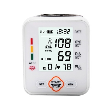 Electronic Blood-Pressure Monitor Home Use Wrist Type Sphygmomanometer Digital LCD Blood-Pressure Measurement Meter with Heart Rate Detection