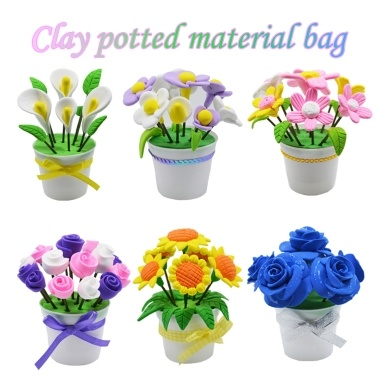 $1.01 OFF Clay Potted Flower DIY Kits for Children Educational Toy,free shipping $4.39(Code:MT934)