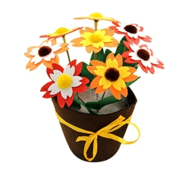 Flower Pots Home Office Decorative Colorful Craft Cloth Sewing DIY Kit Nonwoven Potted Plant DIY