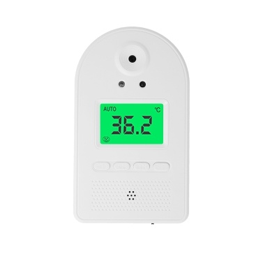 Wall-mounted Infrared Thermometer 100 Data Storage Tri-colored LCD Display Voice Broadcast u00b0C/ u00b0F Non-contact Thermometers Fever Alarm Digital Temperature Measurement