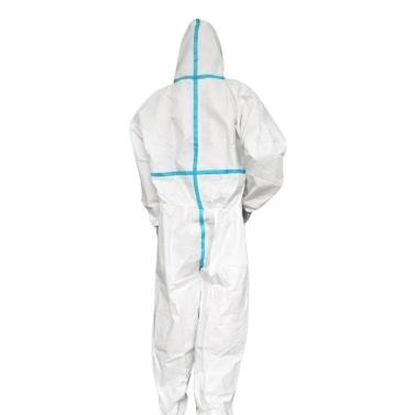 Atmungsaktiver Einwegoverall Schutzkleidung Kapuzenanzug mit elastischen Manschetten Knöchel Kapuzenpullover Reißverschluss Staubdicht Wasserdicht