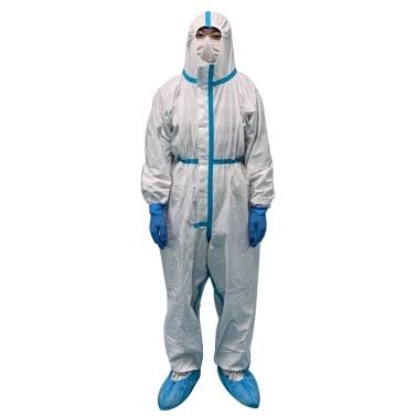 Einwegoveralls Schutzkleidung Atmungsaktiver Kapuzenanzug mit elastischen Manschetten Knöchel Hoodie Vakuumverpackt Staubdicht Wasserdicht