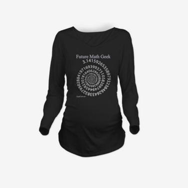 Mutterschaft Shirt Langarm O-Neck Future Mathe Geek Drucken lustige Schwangerschaft Mom Tops T schwarz L