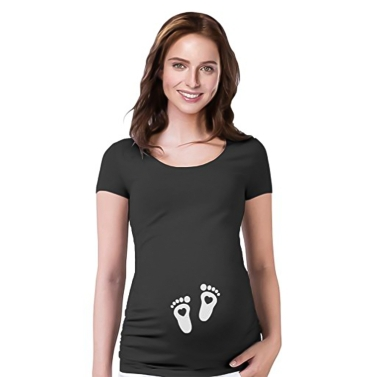 Maternity Shirt Short Sleeve O-Neck Side Ruched Funny Word Pregnancy Mom Tops Tee Black L