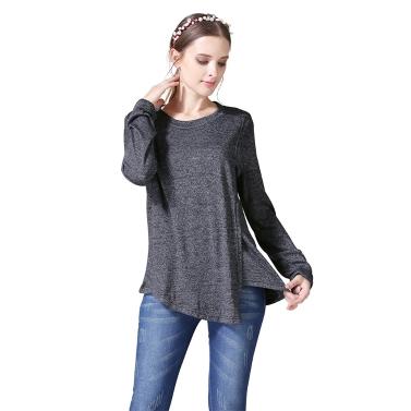Womens Maternity Striped Nursing Breastfeeding Shirt Long Sleeves Top Clothes Light Grey S
