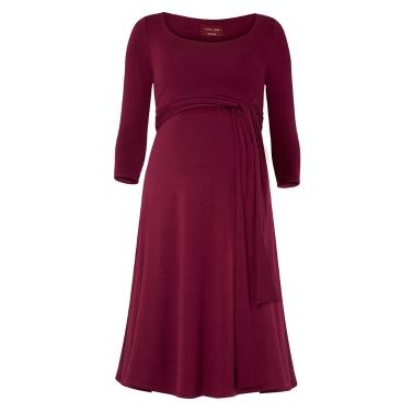 Frauen Mutterschaft Pflege Kleid geraffte Robe Rundhals 3/4 Ärmel Schwangerschaft Kleidung mit Gürtel Schwarz S