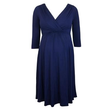 Women Maternity Dress Robe Ruched V-Neck 3/4 Sleeve Nursing Pregnancy Clothes Dark Blue S