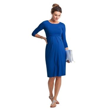 Frauen Umstands Kleid geraffte Robe Rundhals 3/4 Ärmel Schwangerschaft Kleidung rot S