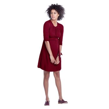 Frauen Umstands Kleid geraffte Robe Rundhals 3/4 Ärmel Schwangerschaft Kleidung mit Gürtel schwarz S