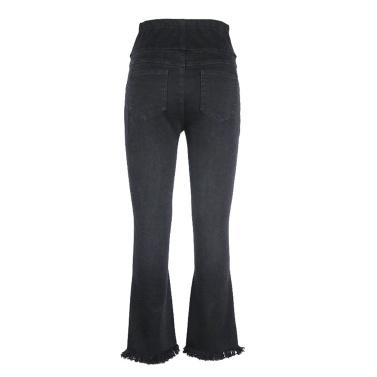 Frauen Materity Hosen Hohe Taille Breite Bein Komfort Bauch Extender Pull Auf Denim Jeans Schwangerschaft Kleidung Schwarz M