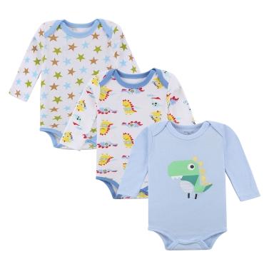 3pcs Baby Rompers Bodysuit Clothes Set 100% Cotton Long Sleeve Newborn Baby Infant Boy 9-12M