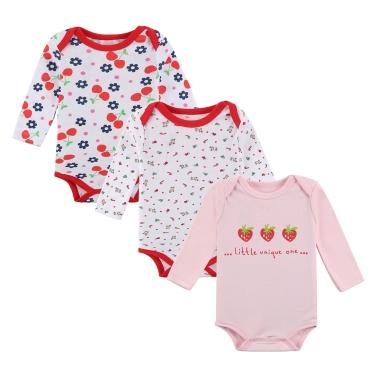 3pcs Baby Rompers Bodysuit Clothes Set 100% Cotton Long Sleeve Newborn Baby Infant Girl 9-12M