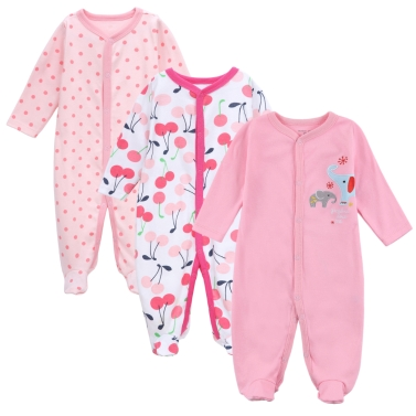 3pcs Baby Coveralls Rompers Set 100% Cotton Jumpsuit Footsies Clothing Newborn Baby Infant Girl 0-3M