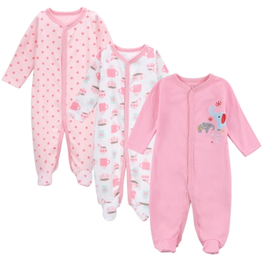 3pcs Baby Coveralls Rompers Set 100% Cotton Jumpsuit Footsies Clothing Newborn Baby Infant Girl 9-12M