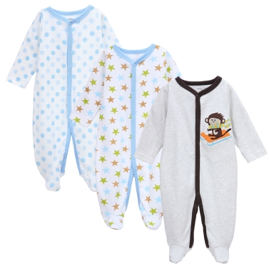 3pcs Baby Coveralls Rompers Set 100% Cotton Jumpsuit Footsies Clothing Newborn Baby Infant Boy 9-12M