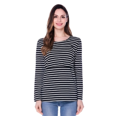 Womens Maternity Striped Stillendes Stillen Shirt Long Sleeves Top Kleidung Rot S