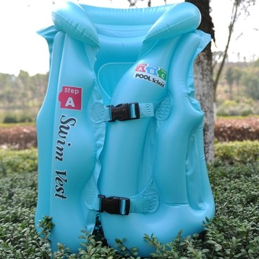 Baby Kids Float Inflatable Swim Vest Solid Color Life Jacket Swimming Aid Learning Floats
