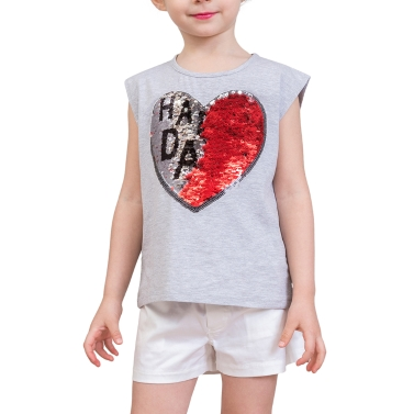 Girls T shirts Cute Heart-Shaped Sequins Cotton Summer Sleeveless Casual Kids Tops Children
