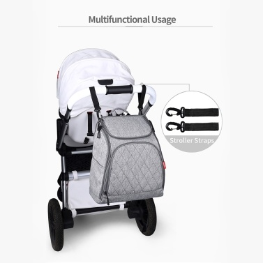 Baby Diaper Bag Large Capacity Fashion Mummy Nappy Bag Nursing Bag Travel Backpack for Baby Care Grey