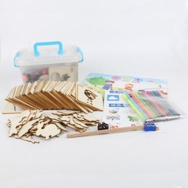 Zeichnungsschablonensets Kunst- und Bastelset mit Farbstiften Zeichnung Hohl Modell 32 Stück Lernspielzeug für Kinder Alter 3-6