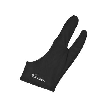 UGEE Freie Größe Zwei-Finger-Zeichnung Handschuh Antifouling Schwarz Geeignet für Rechts und Links Hand für Künstler Tablet Zeichnung