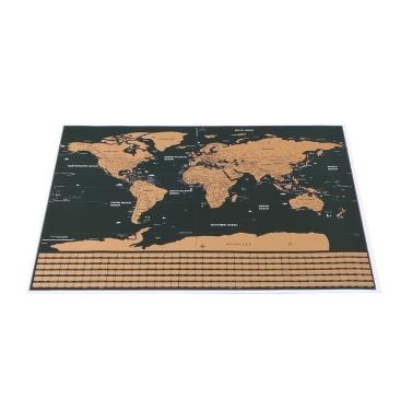 Scratch Off World Travel Map Poster Foglio di rame Adesivo da parete Diario personalizzato Registro di piccole dimensioni senza imballaggio del cilindro