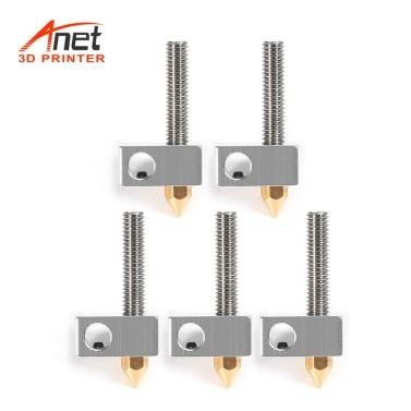 Anet 15 Teile / paket 0,4mm Messing Düsenextruder Druckkopf + Heizblock Hotend + 1,75mm Throat Rohre Rohre für Anet A8 A6 Ender 3 3D Drucker Zubehör