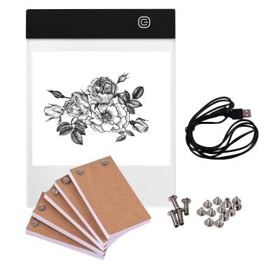 Tragbares Flipbook-Kit mit Light Pad Tablet LED-Lichtbox 3-stufige Helligkeitsregelung 300 Blatt Flipbook-Papier mit Bindeschrauben zum Nachzeichnen und Zeichnen