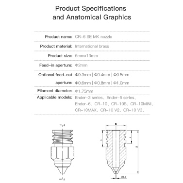 Original Creality 1pc Extruder Brass Nozzle MK Thread Printer Head