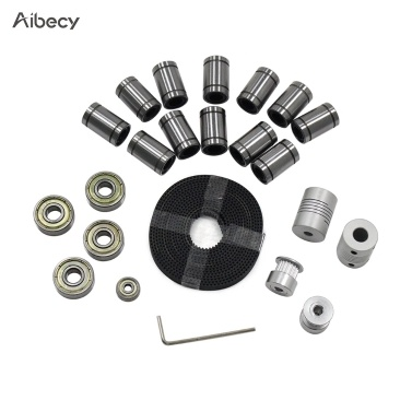 Aibecy 3D Printer Parts Linear Motion Kit LM8UU 608ZZ 624ZZ Bearings Coupler Shaft 20 Teeth Pulley Wheels 2M GT2 Belts