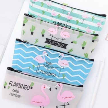 Simple Lovely Flamingo Pencil Case Student Zipper Large Capacity Stationery Bag Cute School Office Pencil Pouch Gift
