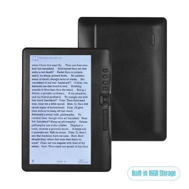BK7019 Leitor de e-book portátil de 7 polegadas E-reader Ecrã a cores Ecrã sem brilho 16 GB Armazenamento de memória Retroiluminação Suporte de bateria Suporte para visualização de fotos / Reprodução de música / Vídeo / Vídeo / TF