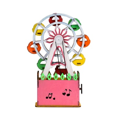 Interesting Scientific Experiment Technology Small-scale Manufacturing Handmade Material Ferris Wheel Music Model( Beige)