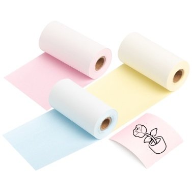 Aibecy 3 Rolls Thermal Paper Black on Yellow/Pink/Blue 53mm*6.5m Compatible with Phomemo M02/M02S Thermal Printers