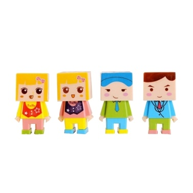 4PCS Lovely Cartoon Figure DIY Assembly Pencil or Crayon Sharpener Cute Plastic Double Hole Sharpener with Eraser