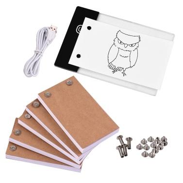Flip Book Kit mit Lichtpad LED Light Box Tablet 300 Blatt Zeichenpapier Flipbook mit Bindeschrauben zum Zeichnen von Tracing Animation Sketching Cartoon Creation