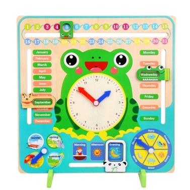 Multifunktionale Holzuhr Enducational Timing Learning Tool Zeit Monat Datum Saison Wetter