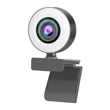 HD 1080P Full Webcam AF-Webkamera Eingebautes einstellbares Ringlicht-Autofokus-Mikrofon
