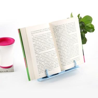 Tragbarer Kunststoff-Bücherständer Faltbarer Buch-Dokumentenhalter Verstellbar 6 Winkel Bücherregal Schreibtisch Lesen Küchenständer für Kochbuch Rezept Lehrbuch Musikbuch Magazin Tablet