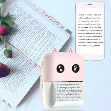 Aibecy Mini Pocket Thermodrucker 58mm Wireless BT Drucker 200dpi mit 1 Rolle Thermopapier zum Drucken von Foto Memo Etikettenliste Journal Planner Cpmpatible mit Android iOS Smartphone