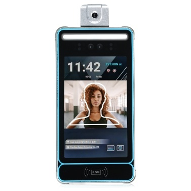 Intelligente Zugangskontrolle Anwesenheitsmaschine Dual-Kamera-Gesichtserkennung Berührungsloser Temperaturmessdetektor
