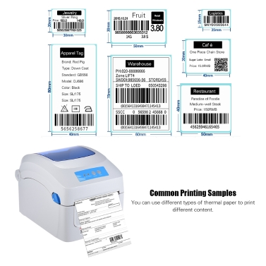 Gprinter GP-1324D Thermal Printer 1D 2D QR Barcode Label Address E-Waybill  Printing 8inch Fast Speed 20-118mm Width with External Label Entrance for