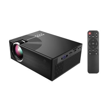 Tragbarer LCD-Projektor voller HD-LED-Projektor 1080P unterstützt 50000 Stunden Lampen Lebensunterstützung HD / USB / VGA / AV / Kopfhörer / SD-Karteingang für Heimkino-Unterhaltung