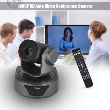 Aibecy Videokonferenzkamera Webcam 10X Optionaler Zoom Full HD 1080P-Kamera 52-Grad-Weitwinkelbetrachtung Autofokus mit USB3.0 HD-CVBS-Schnittstelle Fernbedienung für Geschäftsmeetingsräume Aufzeichnungstraining