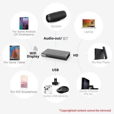 BYINTEK Mini tragbarer 3D-DLP-Projektor 300 ANSI-Lumen 1080P 4K-Unterstützung Eingebauter wiederaufladbarer Battey-Lautsprecher Wifi-Videoprojektor Drahtloser Bildschirm HD-IN / USB * 2 / TF-Kartensteckplatz / DC12V-Eingänge Kompatibel mit Smartphone-PC Laptop für Heimkino-Reisen Unterhaltung im Freien