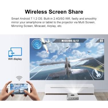 BYINTEK U20 Pro Tragbarer Smart LED DLP-Projektor WLAN-Bildschirmfreigabe für Smartphones mit Android 7.1.2 OS-Videoprojektor USB * 2 / HD IN / DC12V IN-Eingänge 1080P 4K-Unterstützung für Heimkino-Gaming-Unterhaltung