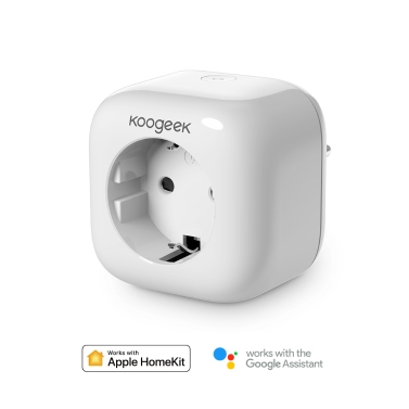Koogeek Wi-Fi Enabled Smart Plug Compatible with Alexa Works with Apple HomeKit and the Google Assistant Voice Control via Siri/Alexa/Google Assistant Remote Control from Anywhere Timer Energy Monitoring No Hub Required AC250V EU Plug White