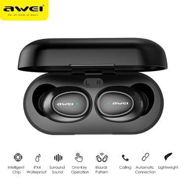 AWEI T6 Wahre Stereo Wireless TWS BT Kopfhörer Mode Mini Sport-Ohrhörer mit Ladekabine